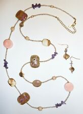 MARKED *N* NORDSTROM - CERAMICS, WOOD & BEAD COVERED LONG NECKLACE & EARRING SET