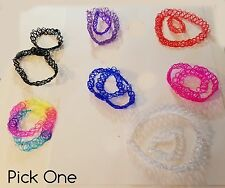 Plastic Tattoo Choker Black Rainbow Clear Blue Orange Pink or Purple +Bracelets