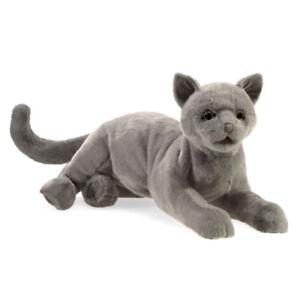 NEW PLUSH SOFT TOY Folkmanis 3113 Purring Grey Cat Full Body Hand Puppet