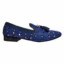 aaf70be10 Fiesso Men s Studded Rhinestone Suede Tassel Slip On Loafers Blue FI7005