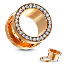 Pair Gem Rimmed Rose Gold Pvd Plated Tunnels Plugs Earlets Gauges