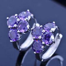Pretty New White Gold Filled Amethyst Purple 4 Gemstone CZ Huggie Hoop Earrings