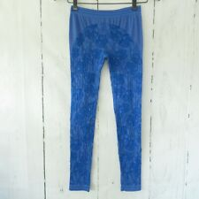 Adidas Stella McCartney Leggings Size XS X Small Blue Floral Textured Ankle Crop