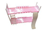 KIDS GIRLS PINK DOLL SIZED PLASTIC BUNK BED SLIDE & LADDER MADE FOR BARBIE DOLLS