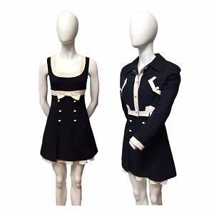 Vivian Paris Vintage Jackie O Chic Navy Cream Dress Suit UK8