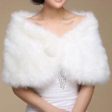Chal de piel sintética para Novia Mujer Dama de Honor Boda Wedding Color Blanco