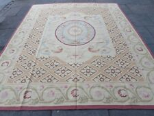 Old Hand Made French Design Wool Pink Maroon Original Aubusson 300X251cm