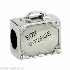 Luggage Travelling Holiday 'Bon Voyage' Silver Bracelet/Bangle Charm Bead