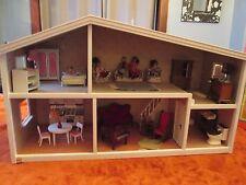 Vintage Lundby Sweden Dollhouse Toy Dolls House + Box 2 Story furniture