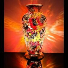 Fabulous Mosaic Glass Crackle Orange and Red Vase Lamp