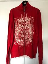 ENERGE MISS SIXTY Red Polo-neck Details Men Cotton Jumper Zip Cardigan Size L