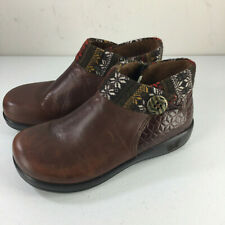 Alegria 37 7 Brown leather Ankle Boots Comfort Fair Isle LikeNew CUTE