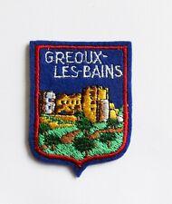 BLASON Brodé Ecusson ville Gréoux les Bains - hauteur 6,5 cm