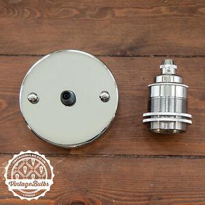 Vintage Light Fittings Set Chrome Pendant Lamp Holder E27 B22 3 Variations