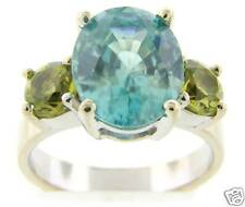 Solid 18K White Gold Peridot & Blue Topaz Cocktail Ring