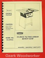 Craftsman 10 Quot Table Saw 103 27270 Operator Amp Parts Manual