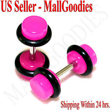 2025 Dark Hot Pink Fake Cheater Illusion Faux Ear Plugs 16G Bar 4G = 5mm - 2pcs