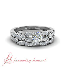 1.25 Carat Round Cut Diamond Flower Pave Wedding Ring Set For Her In White Gold