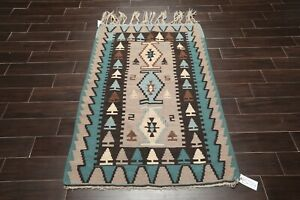 """3'7'' x 5'3"""" Hand Woven Authentic Turkish Kilim 100% Wool Area Rug Taupe Teal"""