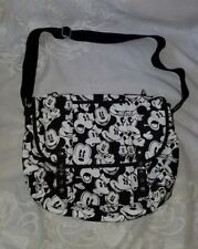Disney Parks Mickey Mouse Faces Black White Canvas Crossbody Messenger Bag Purse