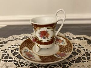 Limoges China Demitasse Footed Cup and Saucer Burgundy Gold Pink Yellow Roses