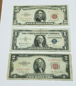 Lot of Old Currency 1953 $2.00 1963 $5.00 RED SEAL 1957B $1 Silver Certificate