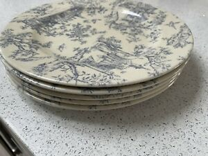 5 Toile de Jouy Large Vintage Dinner Plates by Churchill, England Blue & White