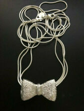 """Lovely Silver Multi-Strand Bow Necklace18"""""""