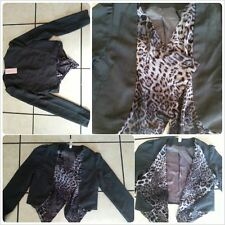 Celeb Style Womens buttonless Dark Gray leopard Cheetah print style jacket S