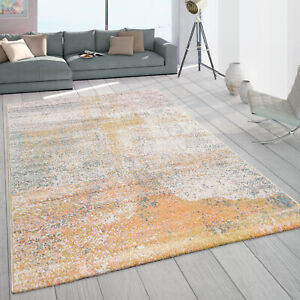 Teppich Wohnzimmer Kurzflor Abstraktes Vintage Muster Pastell Gelb Beige Grün