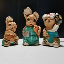 Mereside Woodlander Rabbit Figurines Ollie Porky Simon Made in England Lot of 3