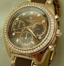 Accurist LB211BR Ladies Crystal Set Rose Gold Tone Chronograph RRP £169.99