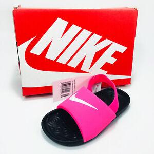 Nike Kawa Slide (TD) Sandals Toddler Kid's Pink / Black / White BV1094-610 NEW