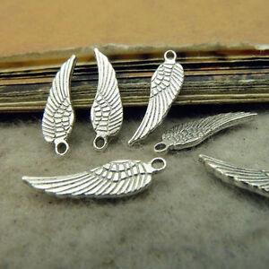 50x Tibetan Silver Small Feather Pendant Charms Beads Dangle Jewelry DIY /47F