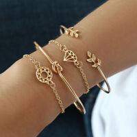 Fashion 4Pcs Simple Leaf Knot Bracelet Gold Adjustable Open Bangle Women Jewelry