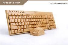 2.4G PC Computer Wireless Handmade Bamboo Natural Wood Keyboard Mouse Set