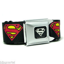 Superman DC Comics Red Yellow Logo Licensed Seatbelt Black Seat Belt Buckle Down