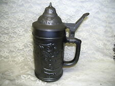PAINTED SCENIC GLASS GERMAN STEIN W/ LID
