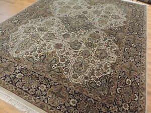 8x10  Oriental area rug Beige Green Ivory Rust wool hand-knotted medallion