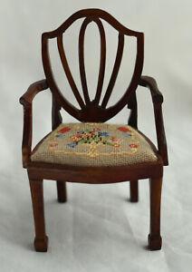 Vtg Dollhouse Miniature Hepplewhite Chair Artisan Petite Needlepoint Seat