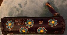 Hand Made Pencil Case. Peruvian Handicraft Purple Round New