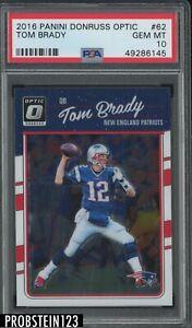 2016 Donruss Optic #62 Tom Brady New England Patriots PSA 10 GEM MINT