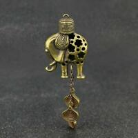 Chinese Brass Elephant Wind Chimes Pendant Pocket Statue Xmas Gift Toy Good Luck