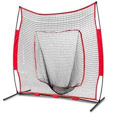 7'×7' Baseball Softball Practice Hitting Net Bow Frame W/Red Bag & Ball Caddy