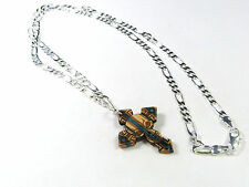RECYCLED SKATEBOARD Wooden Handmade Cross Skull Necklace Cool Rock Goth Pendant