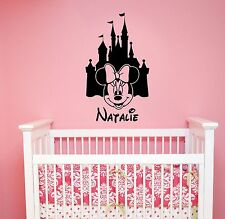 Personalized Disney Castle Wall Decal Minnie Mouse Custom Name Vinyl Sticker mc1