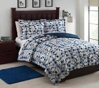 Full Microfiber Kids Bonez Blue/White Reversible Comforter Set