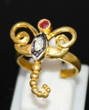 Style Natural Ruby & Diamond Ring 925 Sterling Silver Rose Cut Uncut Victorian