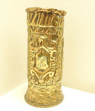 An original  Military WWI Brass Trench Vase Pot 1917 Decorated (4915)