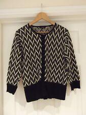LINEA Cardigan Black/Cream Patterned Print Wool/Cashmere/Angora Blend Size Large